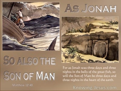 Matthew 12:40 As Jonah Was Three Days And Nights In The Belly Of The Whale (brown)